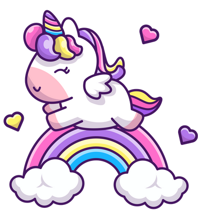 Baby Unicorn flying on rainbow Illustration