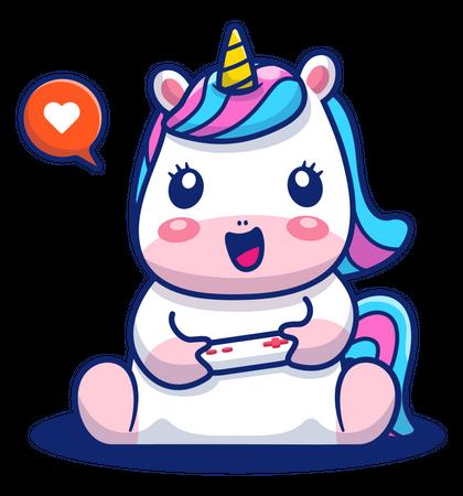 Baby unicorn playing video game Illustration