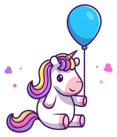 Baby unicorn playing with balloon Illustration