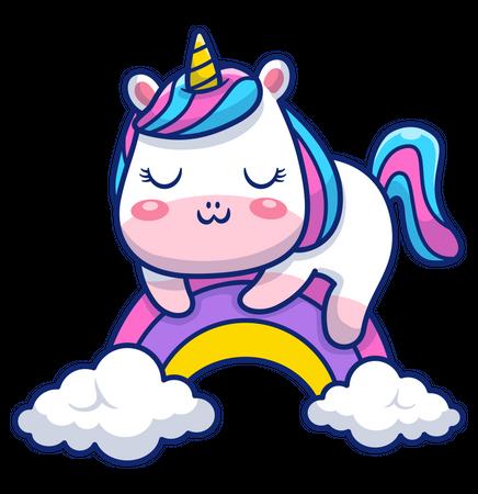 Baby unicorn sleeping on rainbow Illustration