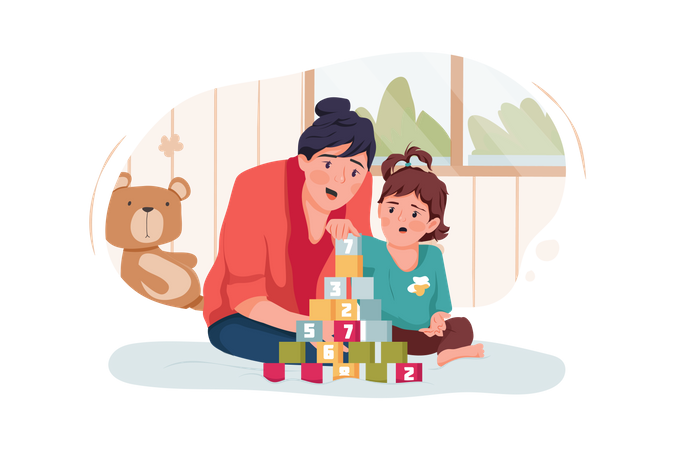 Babysitter or mother and baby girl playing with toy cubes at home Illustration