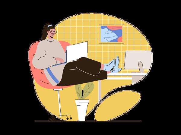 Back end developer doing coding Illustration