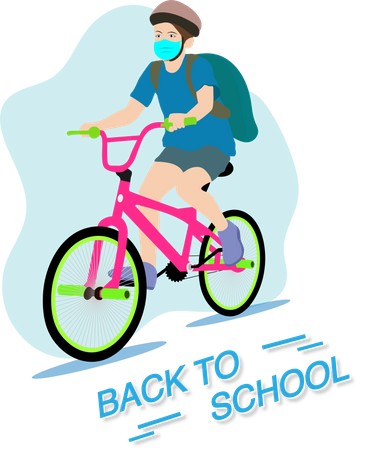 Back to school after covid-19 quarantine and lockdown Illustration