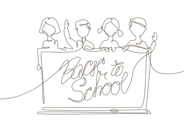 Back To School - One Line Design Style Illustration Illustration