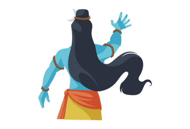 Back view of Lord Shiva Illustration