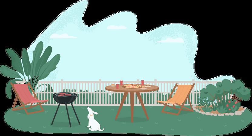 Backyard barbecue Illustration