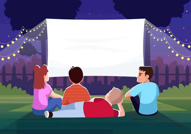 Backyard cinema for kids Illustration