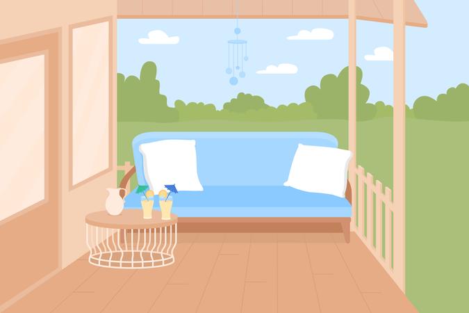 Backyard terrace Illustration