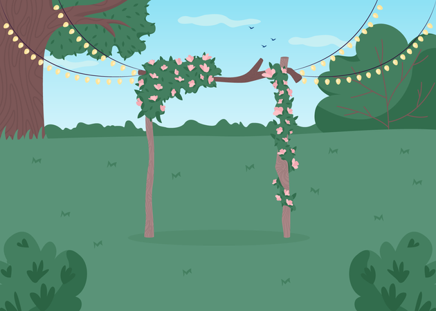 Backyard wedding Illustration