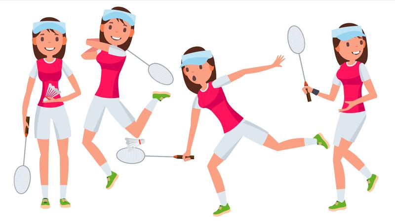Badminton Female Player Vector. In Action. Championship Training. Cartoon Character Illustration Illustration