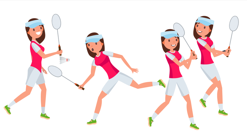 Badminton Female Player Vector. Playing In Different Poses. Woman. Athlete Isolated On White Cartoon Character Illustration Illustration