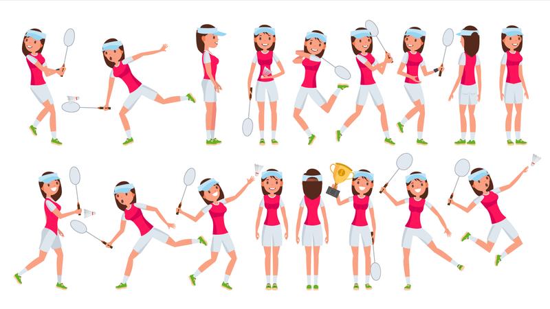 Badminton Girl Player Female Vector. Playing. Athlete In Uniform. Cartoon Athlete Character Illustration Illustration