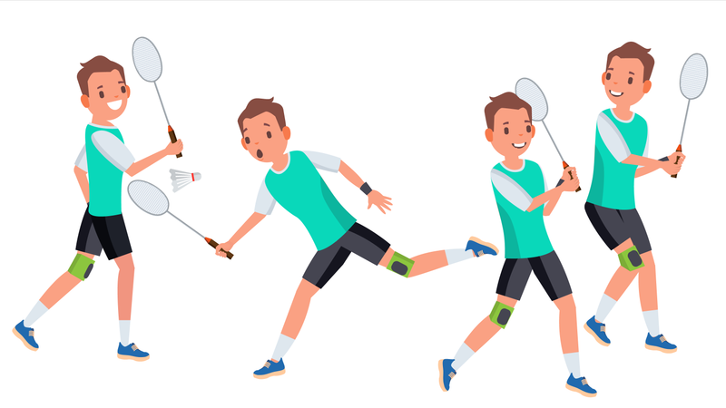 Badminton Male Player Vector. In Action. Racket. Modern Sport, Hobby. Holding Shuttlecock. Cartoon Character Illustration Illustration