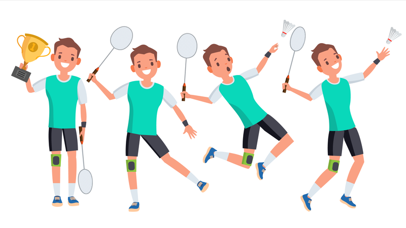 Badminton Male Player Vector. Playing In Different Poses. Man Athlete. Isolated On White Cartoon Character Illustration Illustration