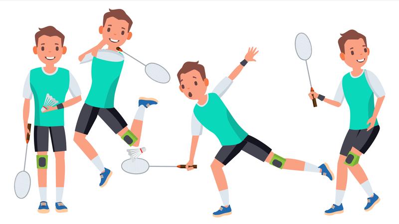 Badminton Man Player Male Vector. Athlete In Uniform. Jumping, Practicing. Cartoon Athlete Character Illustration Illustration