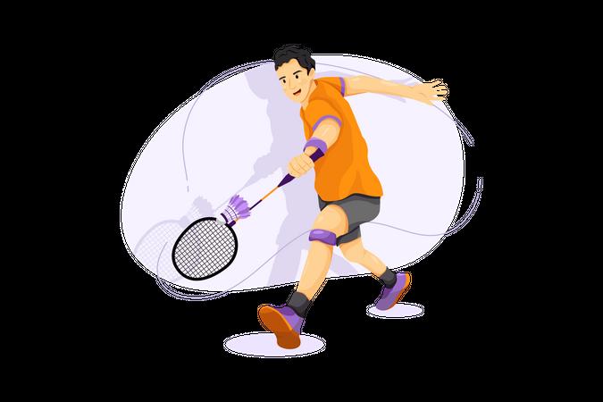 Badminton Player Illustration