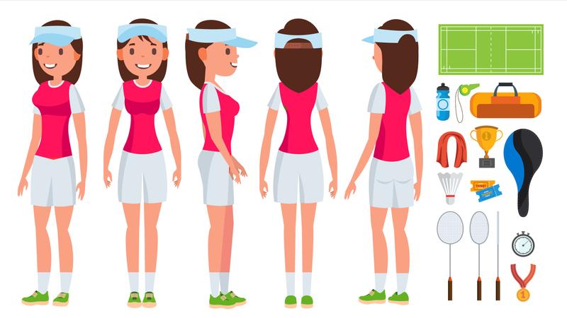 Badminton Player Female Vector. Summer Game. Shuttlecock. Isolated Flat Cartoon Character Illustration Illustration