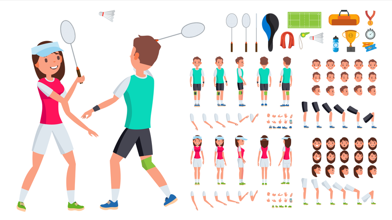 Badminton Player Male, Female Vector. Animated Character Creation Set. Man, Woman Full Length, Front, Side, Back View. Badminton Accessories. Poses, Emotions, Gestures. Flat Cartoon Illustration Illustration