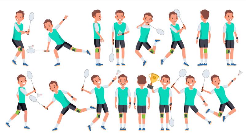 Badminton Player Male Vector. Summer Activity. Championship Training. Isolated Flat Cartoon Character Illustration Illustration