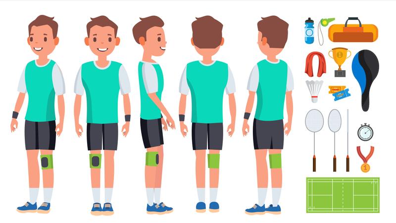 Badminton Young Man Player Vector. Motion Game. Speed Action. Man. Flat Athlete Cartoon Illustration Illustration