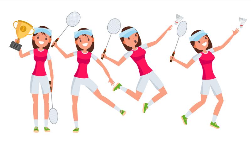 Badminton Young Woman Player Vector. Girl Athlete Player. Jumping, Practicing. Flat Cartoon Illustration Illustration