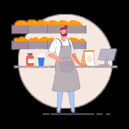 Baker in a small bake house Illustration