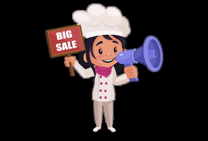 Bakery Girl announcing sale using megaphone Illustration