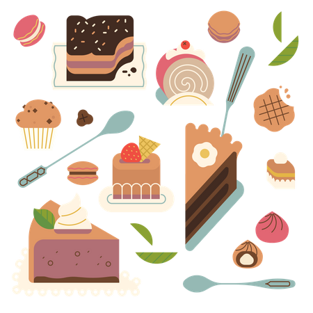Bakery themed with various sweets, cakes and desserts Illustration
