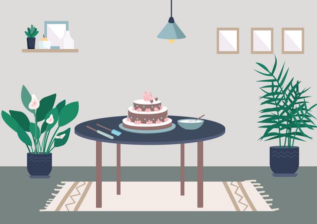 Baking birthday cake Illustration