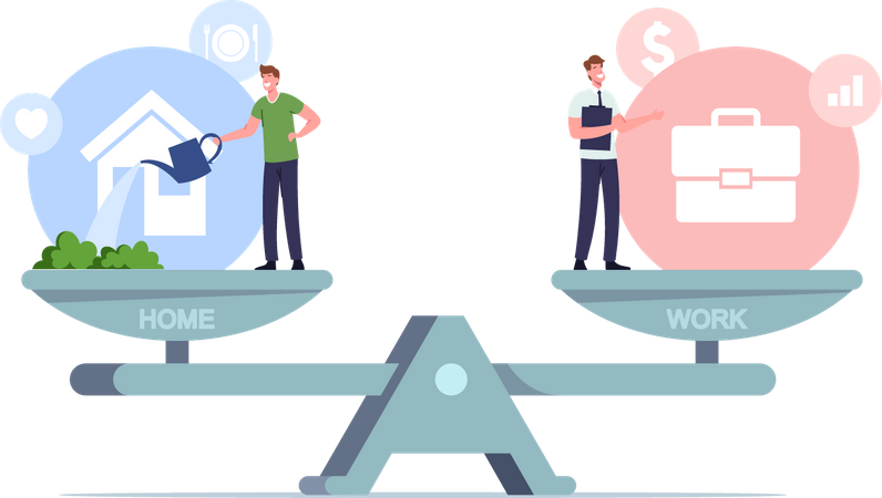 Balance between Work and Home Illustration