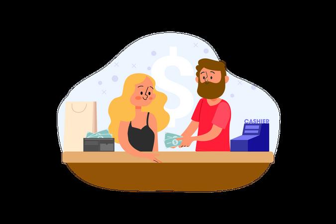 Bank Cashier Illustration