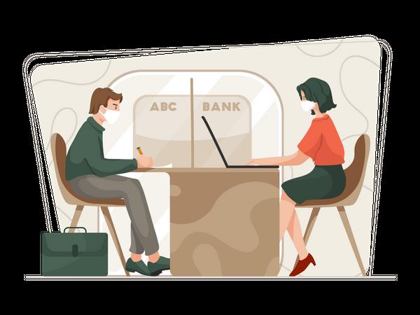 Bank employee working in bank Illustration