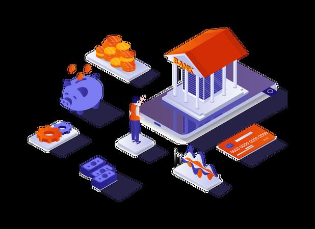 Bank financial services Illustration