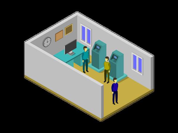 Bank Machine Room Illustration