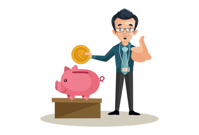 Bank manager saving money Illustration