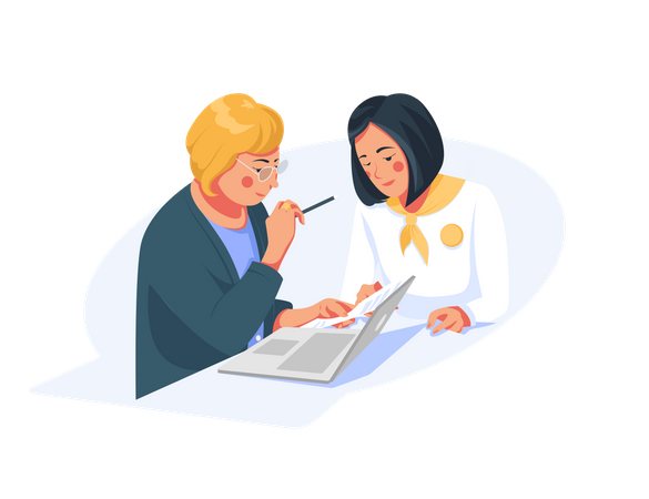 Bank manager talking to customer about loan Illustration