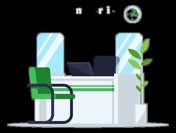 Bank Service Desk Illustration