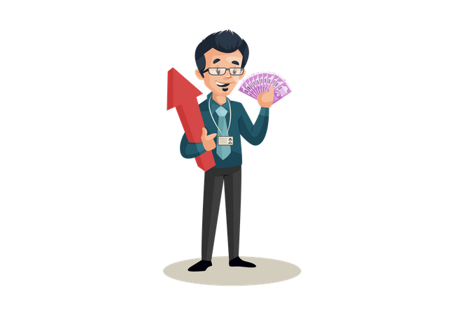 Banker holding money and arrow in hands in business growth concept Illustration
