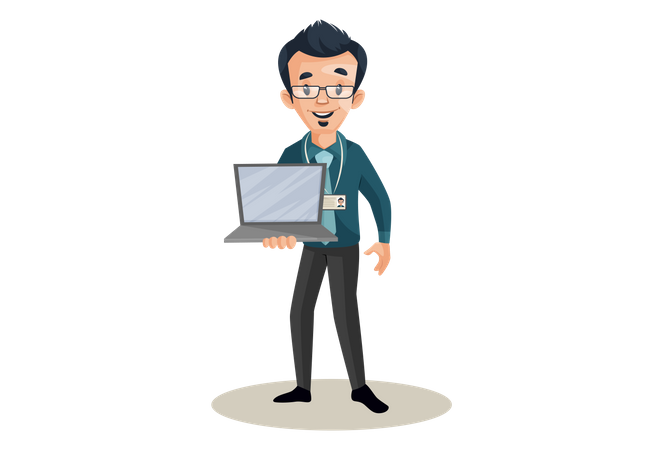 Banker is holding a laptop in hand Illustration