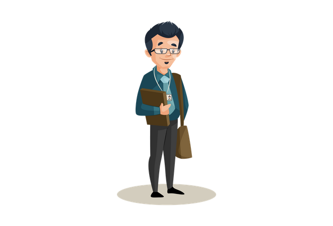 Banker is holding files in hand and wearing sling bag Illustration