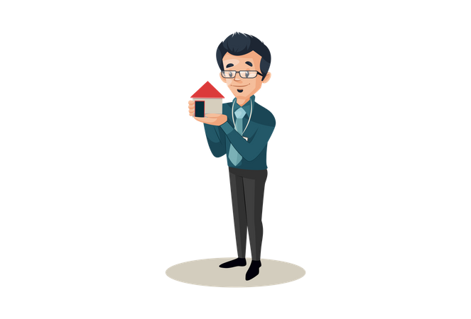 Banker is holding small house in hand for home loan Illustration