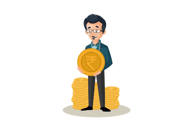 Banker with coins and holding one coin in hand Illustration