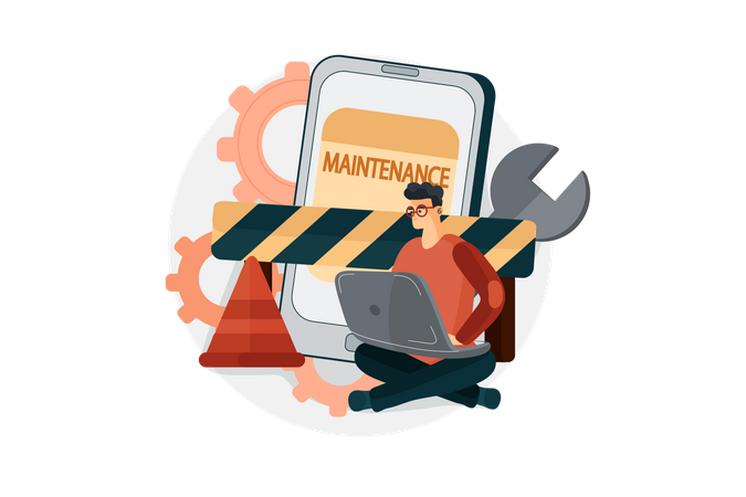 Banking application under maintenance Illustration