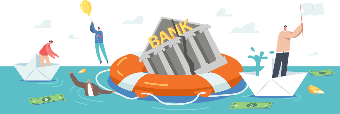 Bankruptcy Sinking Bank Trying to Survive in Crisis Illustration