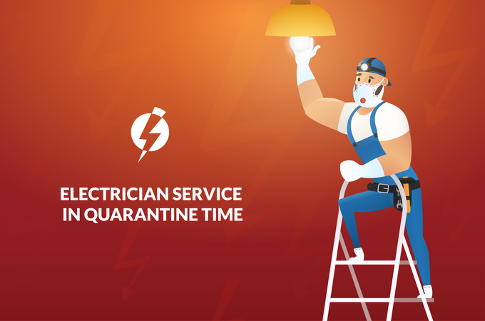 Banner Electrician Service in Quarantine Time Illustration