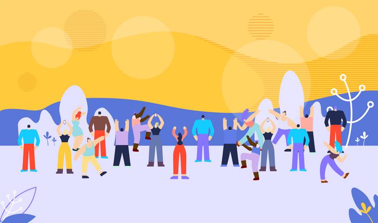 Banner People Summer Season Vector Illustration. Illustration