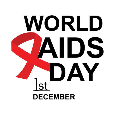 Banner With Red Ribbon. Poster With Symbol For World Aids Day, 1 December. Design Template, Vector Illustration. Illustration