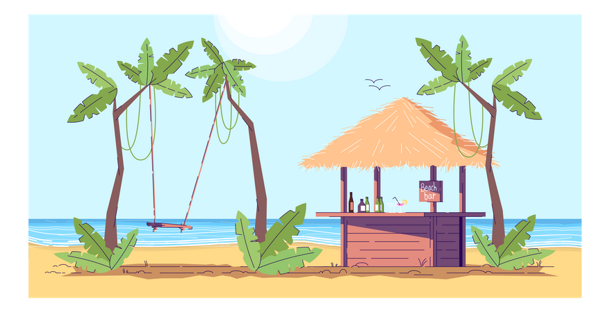 Bar and rope swing Illustration