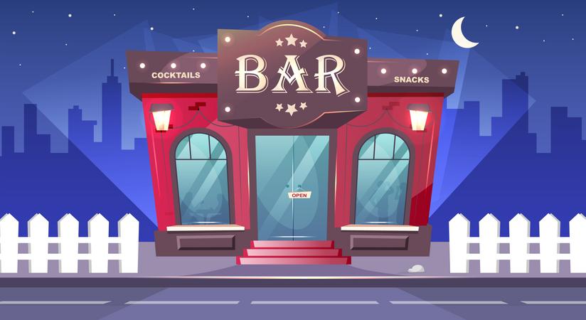 Bar at nighttime Illustration