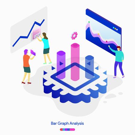 Bar Graph Analysis illustration concept Illustration